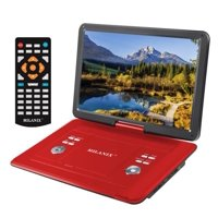 """Milanix 15.4"""" Portable DVD Player, CD Player, Swivel Angle Adjustable Display Screen, USB/SD Card Memory Readers Built-in Rechargeable Battery Remote Control"""