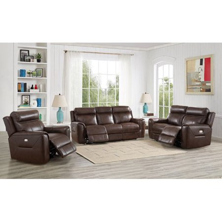 Red Barrel Studio Efren Reclining 3 Piece Leather Living