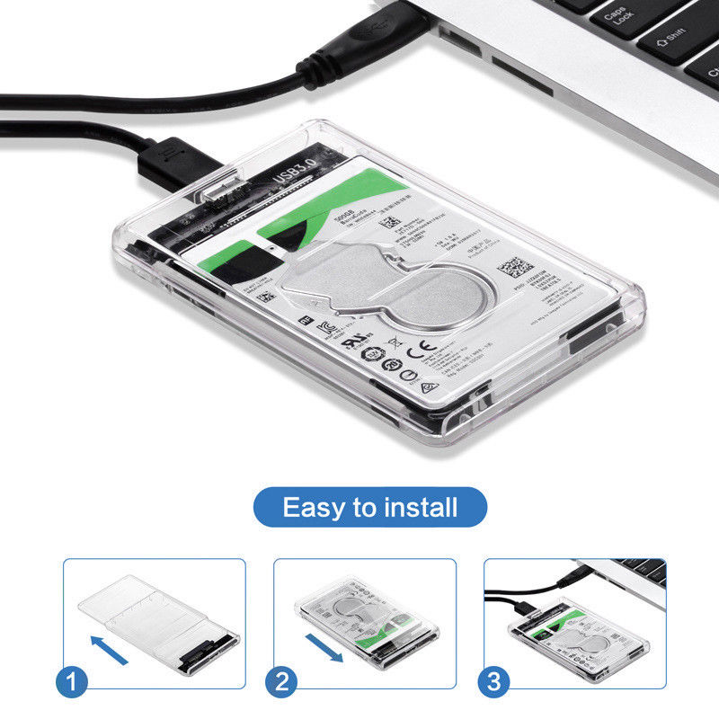 2.5 inch SATA USB 3.0 HDD Hard Drive External Enclosure SSD Disk Box Case w/ LED