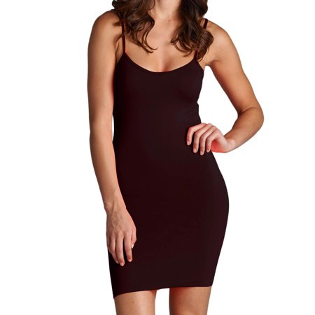 Mb Trend Women's Slip Dress Cami Camisole Seamless Extra Long Solid Tunic Mini Tank Top, Brown, One Size