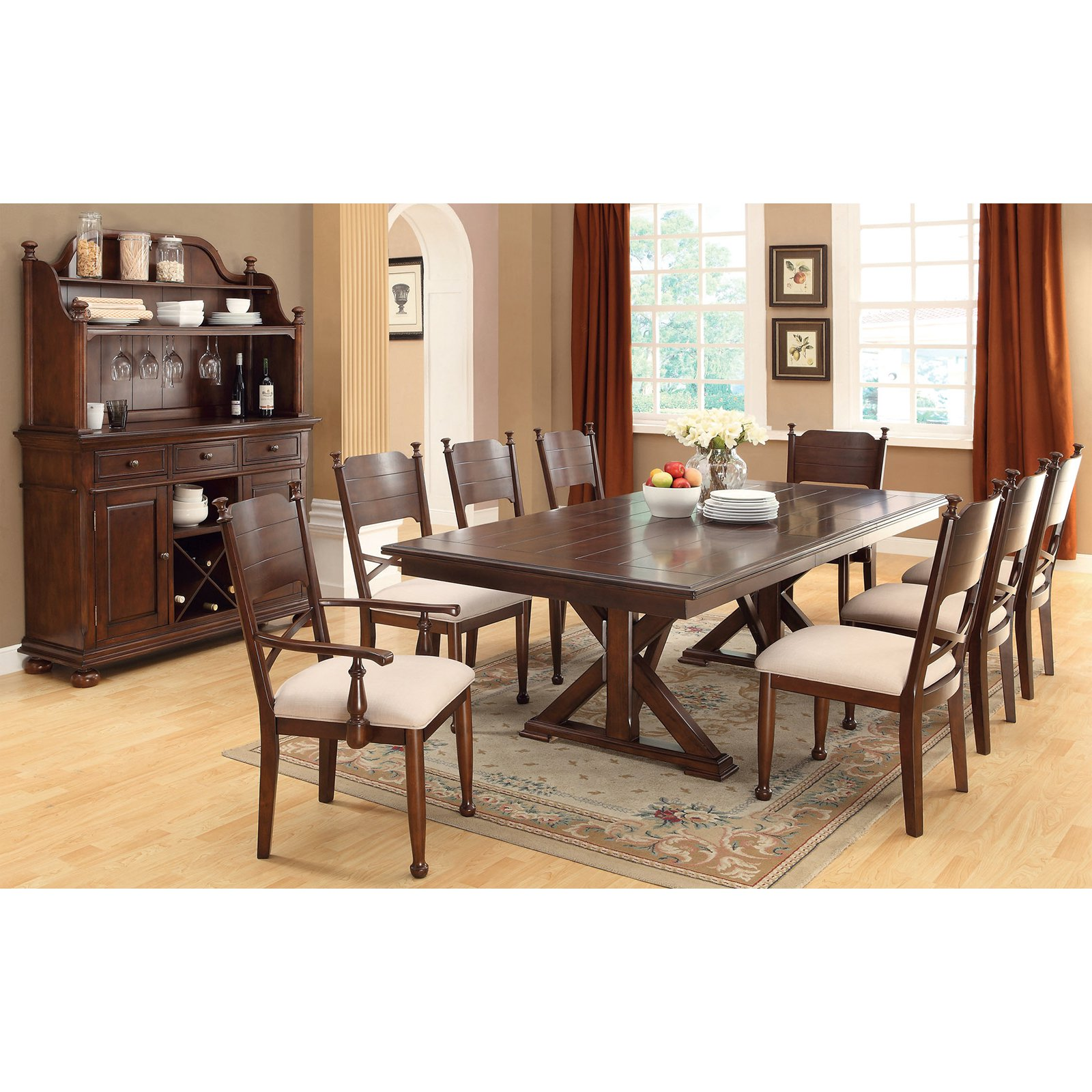 Furniture of America New England Double Pedestal Dining Table - Brown Cherry