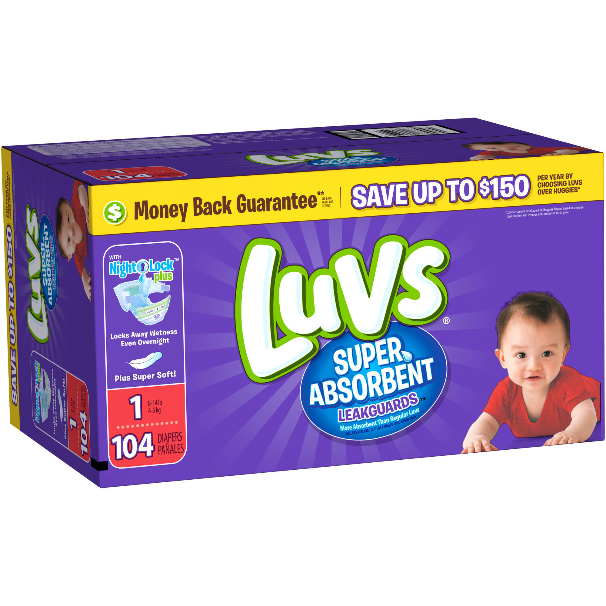 Luvs Super Absorbent Leakguards Diapers, Size 1 (Choose Diaper Count)