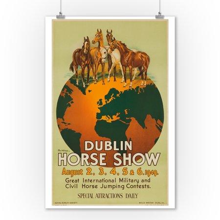 Dublin Horse Show Vintage Poster  Artist  Olive Whitmore  Ireland C  1949  9X12 Art Print  Wall Decor Travel Poster