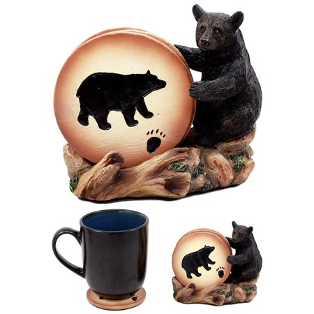 "Ebros Gift Rustic Woodlands Black Bear Paw Coaster Set 4 Round Coasters Figurine Holder 4""H"