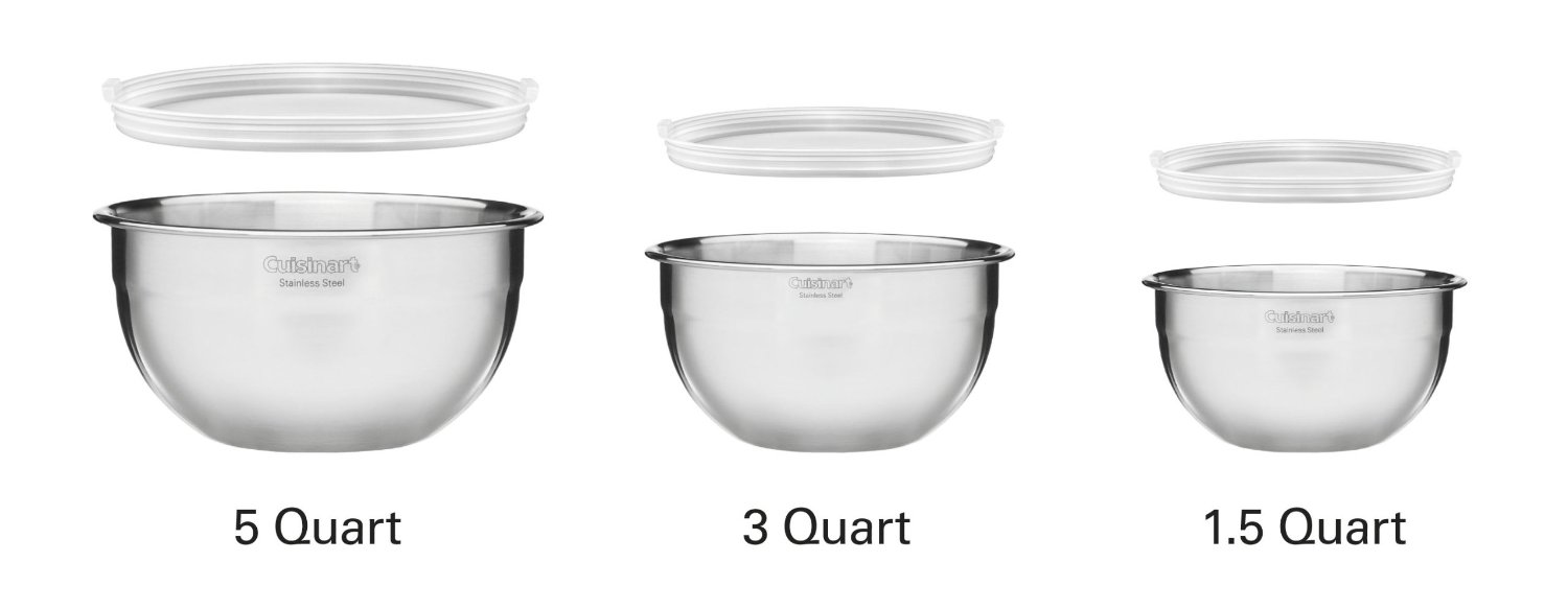 Cuisinart stainless steel mixing bowls with lids - Cuisinart Bpa Free Ctg 00 Smb Stainless Steel Mixing Bowls With Lids Set Of 3 Walmart Com