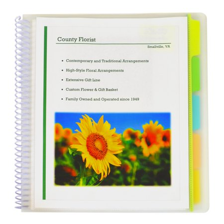 Spiral Bound 10-Pocket Poly Portfolio with Write-On Tabs Clear Front Translucent Portfolios