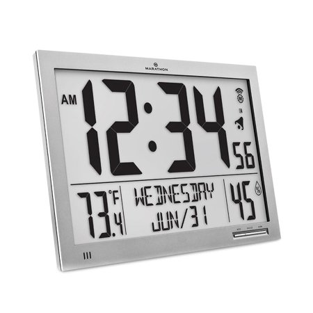 Marathon CL030062FD GG Slim Atomic Full Calendar Clock