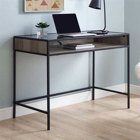 """42"""" Metal and Wood Desk with Glass and Shelf - Grey Wash"""
