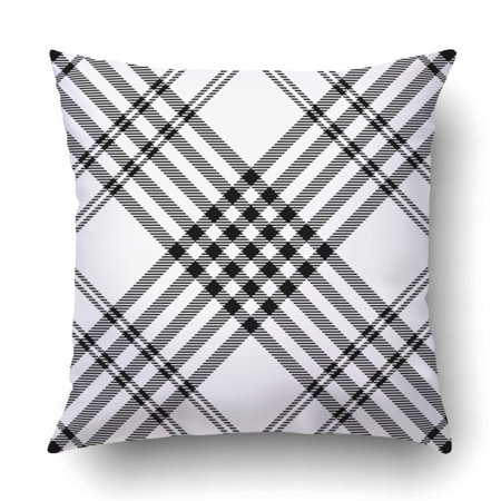 ARTJIA tartan plaid pattern Black and white checkered fabric texture Pillowcase Throw Pillow Cover Case 20x20 inches ()
