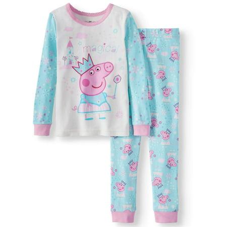 Cotton Tight Fit Pajamas, 2pc Set (Toddler Girls) - Kid Pjs