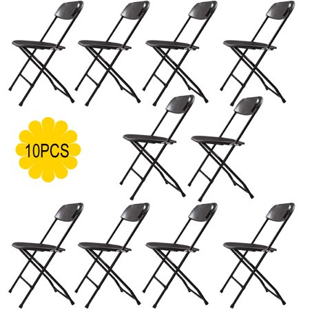 Jaxpety 10-Pack Black Commercial Black Plastic Folding Chairs Stackable Wedding Party Event Chair (Wedding Chairs)