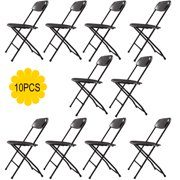 Jaxpety 10-Pack Black Commercial Black Plastic Folding Chairs Stackable Wedding Party Event Chair