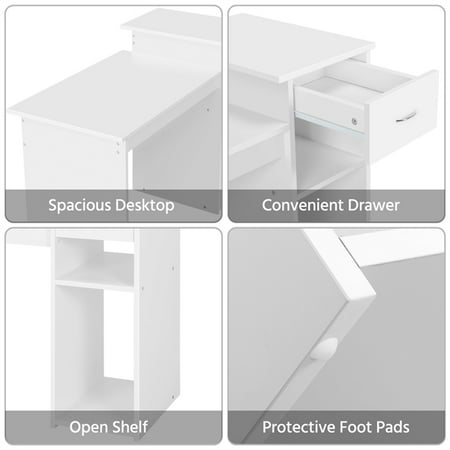 SmileMart Computer Desk Laptop Study Table with Drawer Home Office Workstation,White