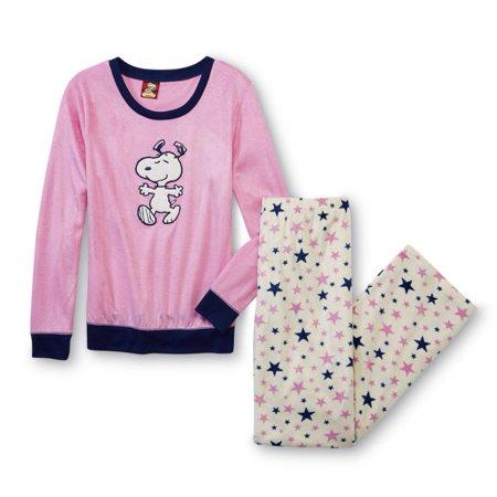 40d8b4b7d3 Peanuts Womens Snoopy Pajamas Pink Star Print Fleece Sleep Set Lounge Pants