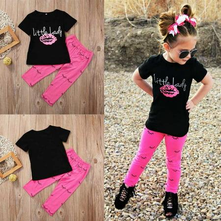 2Pcs Kid Baby Girls Outfits T-shirt Tops +Leggings Pants Clothes Set