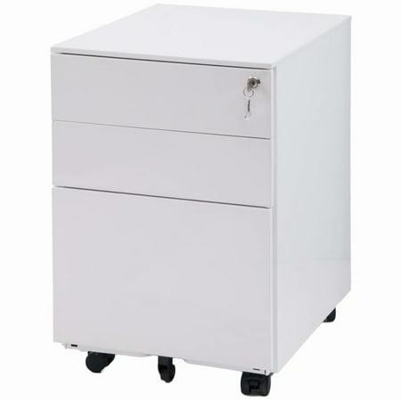 3 Drawer File Cabinet, File Cabinet 3 Drawer Mobile Metal Lockable File Cabinet Under Desk Fully Assembled Except for 5 Castors, White ()