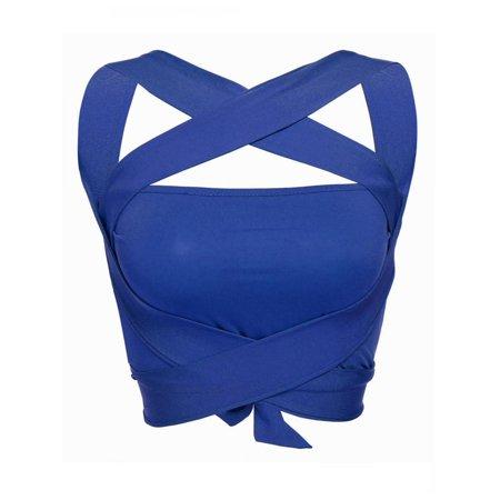 Women Sexy Crop Tops, Halter Criss Cross Bandage Cut Out Tank Tops Beach Club Wear
