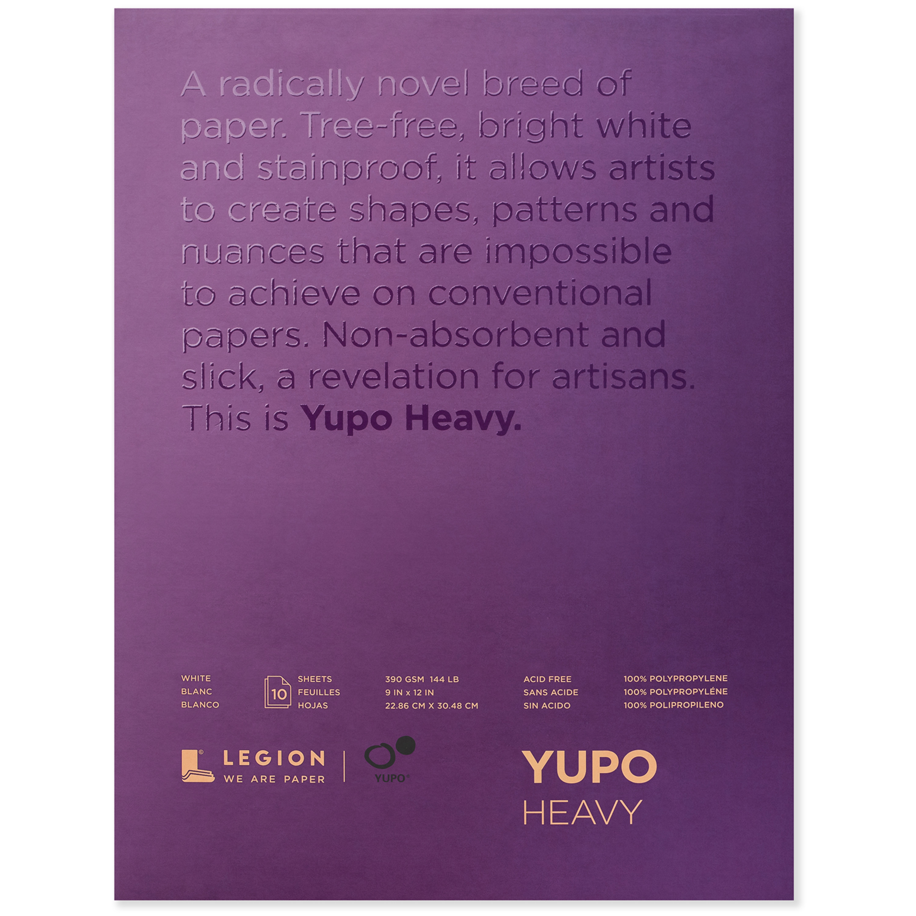 Legion Paper Yupo Heavy Watercolor Pad, 10 Sheets, 9in x 12in