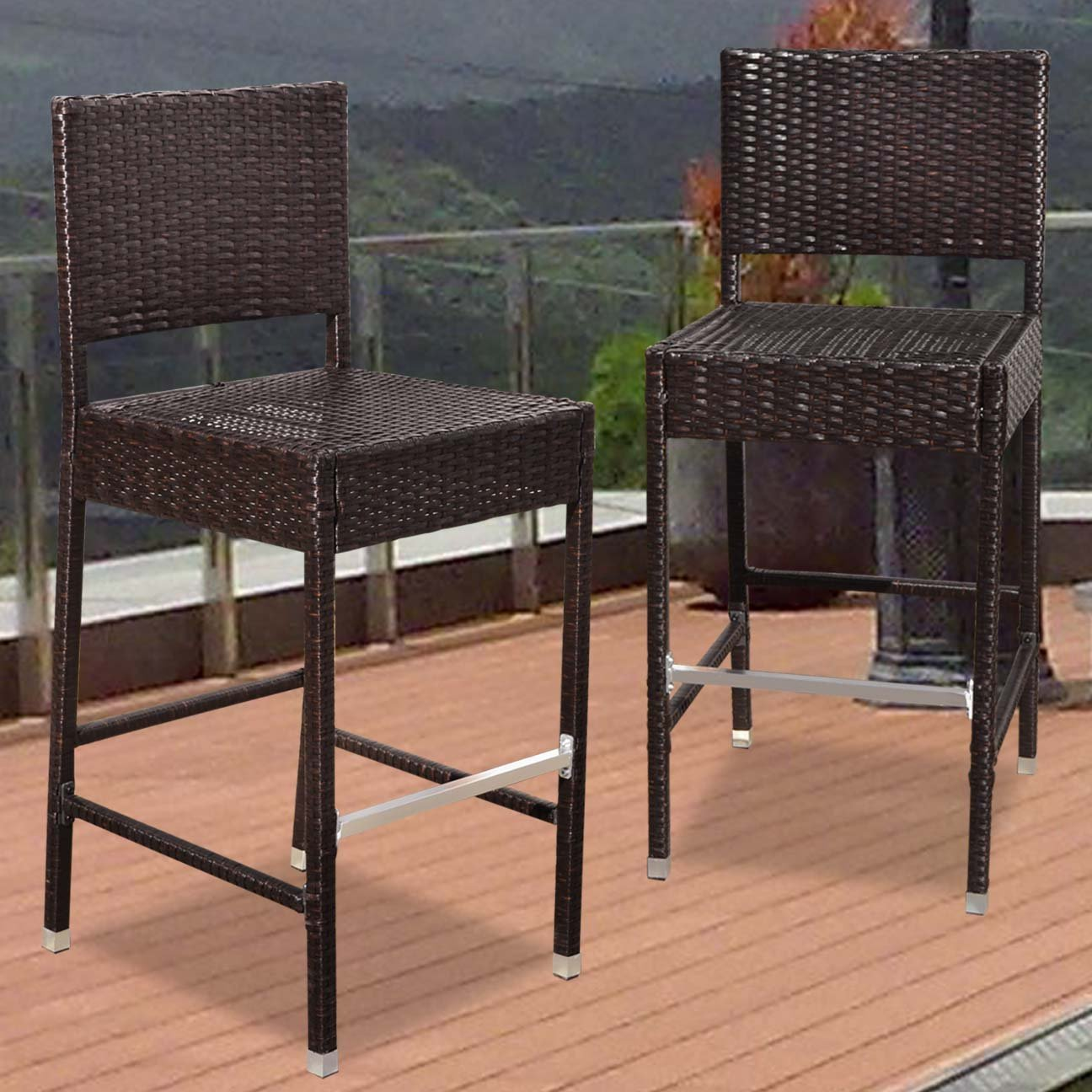 Strong Camel Dark Coffee Wicker Barstool Indoor Outdoor Patio Furniture All Weather Bar Stool--2 pcs