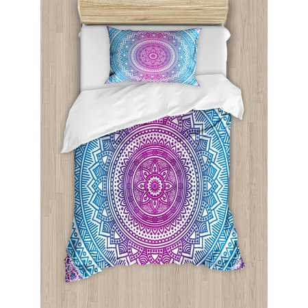 Blue and Pink Duvet Cover Set, Ombre Mandala Floral Star Medallion Pattern Ethnic Style Bohemian, Decorative Bedding Set with Pillow Shams, Blue White and Violet, by Ambesonne (Ombre Blue)