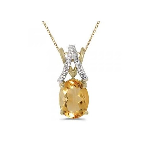 Seven Seas Jewelers Oval Citrine & Diamond Pendant Necklace 14k Yellow Gold (1.20tcw) by Brand New