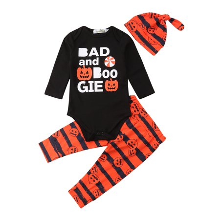 Fossilized Customs Halloween (Toddler Baby Boys Girls Halloween Customs Set 3pcs Long Sleeve Letters Romper Pumpkin Pants Hat Outfit)
