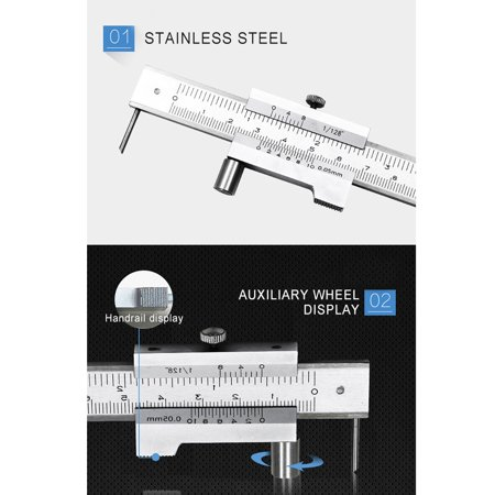 200mm Measure Scale Ruler 0.05mm Accurate Parallel Line Digital Vernier Caliper Carbon steel+Stainless Steel for Iron Wood Color:Silver - image 4 of 8