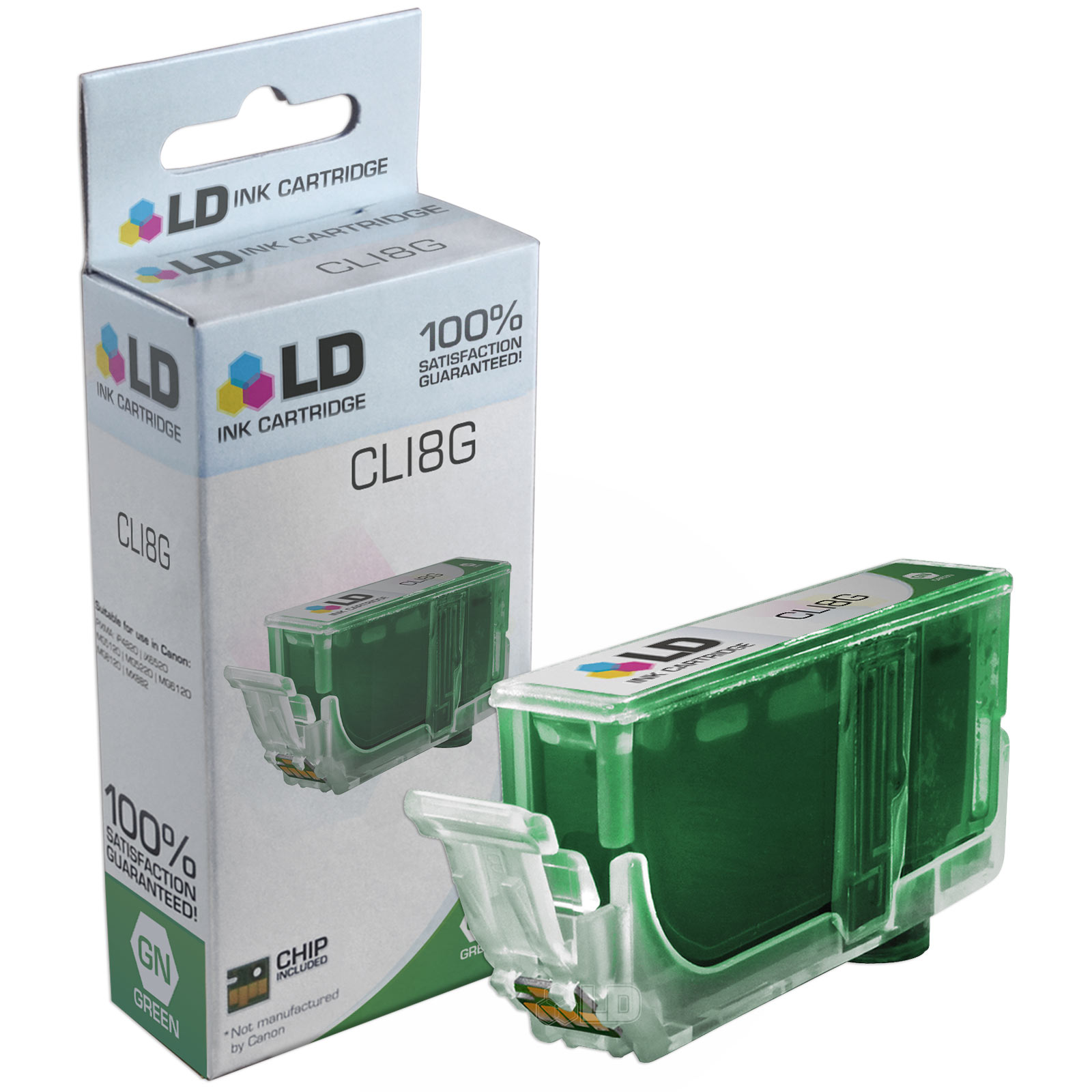 LD Compatible Replacement for Canon CLI8G Ink Cartridge Includes: 1 Green 0627B002