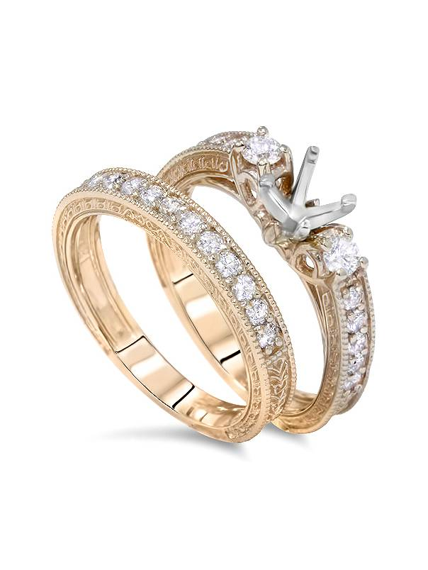 14k Yellow Gold and .12ct Round Cut Diamond Engagement Ring Size 7