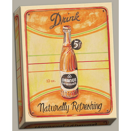 Vintage 50's Style Naturally Refreshing Orange Soda Ad; Kitchen Decor; One 11X14 Hand-Stretched Canvas - 50's Style Home Decor