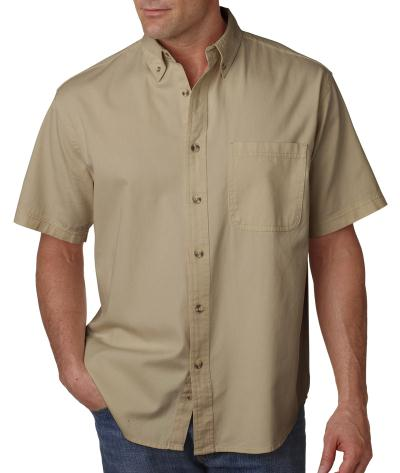 Ultraclub-Adult Cypress Twill Short-Sleeve Shirt With Pocket-8965C - image 1 of 1