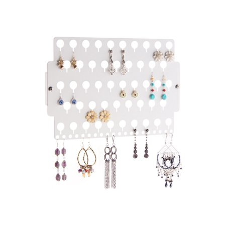 Stud Earring Holder Wall Mount Hanging Jewelry Organizer Rack Closet Storage, Angelynn's Earring Angel White