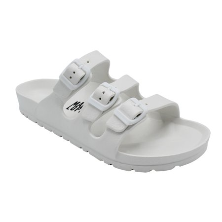 Men Comfort Slides Double Buckle Adjustable EVA Flat Sandals White 10