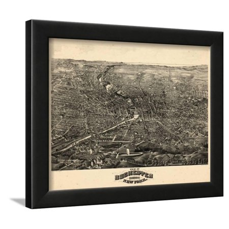 1880, Rochester 1880 Bird's Eye View, New York, United States Framed Print Wall Art