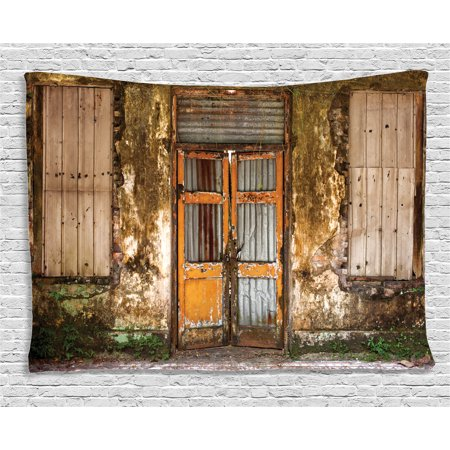 Rustic Home Decor Tapestry, Damaged Shabby House with Boarded Up Rusty Doors and Mold Windows Home Decor, Wall Hanging for Bedroom Living Room Dorm Decor, 80W X 60L Inches, Multi, by Ambesonne