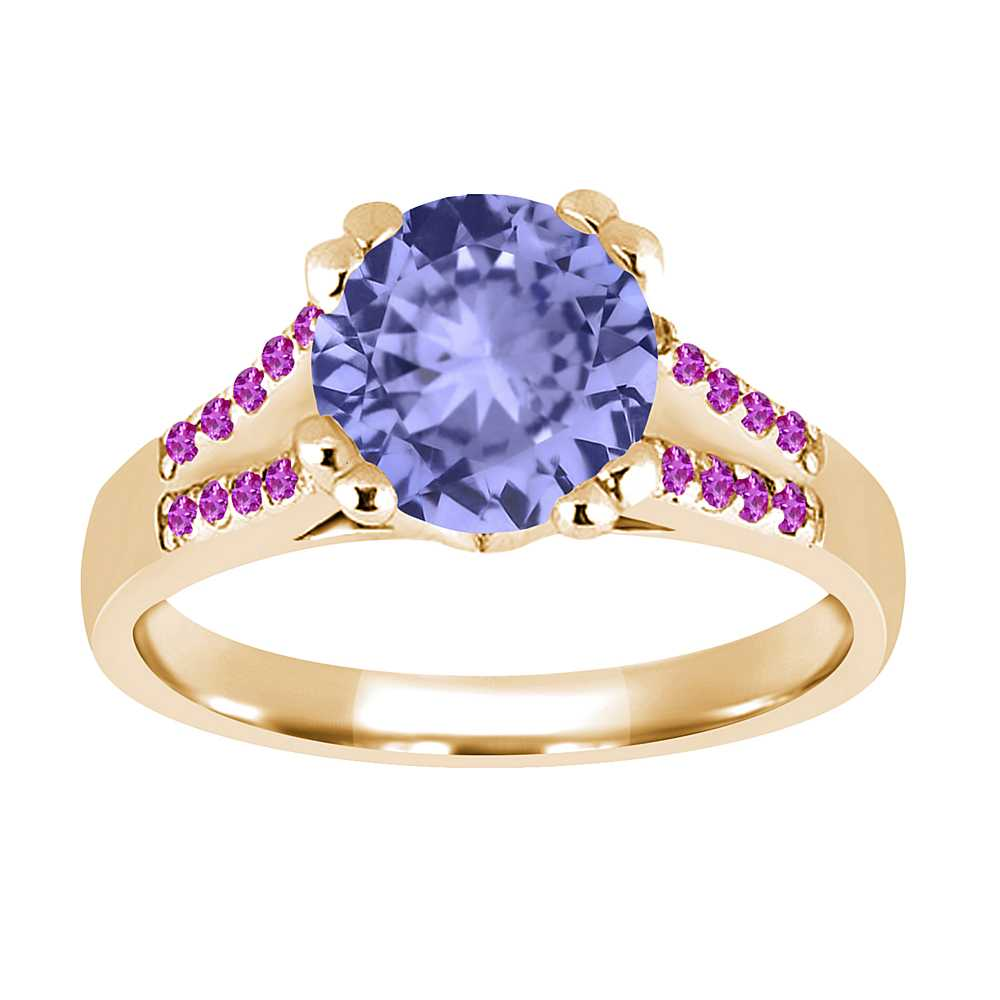 1.10 Ct Round Blue Tanzanite Pink Sapphire 18K Yellow Gold Ring by