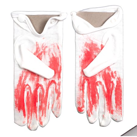 Loftus Blood Splattered Halloween 2pc Gloves, White Red, One Size](Blood Splatter Shoes)