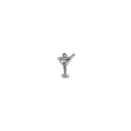 Charm for Jewelry Making - Martini Glass 24x18mm Pewter Antique Silver Plated (1-Pc), Lead Free By JewelrySupply