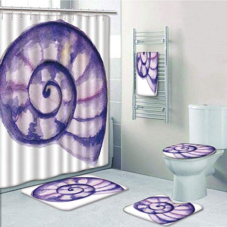 EREHome Sea Ocean Marine Navy Life Creature Animal Shell in Watercolor 5 Piece Bathroom Set Shower Curtain Bath Towel Bath Rug Contour Mat and Toilet Lid Cover - image 1 of 2