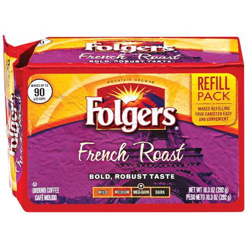 Folgers French Roast Medium-Dark Ground Coffee Refill Pack, 10.3 oz