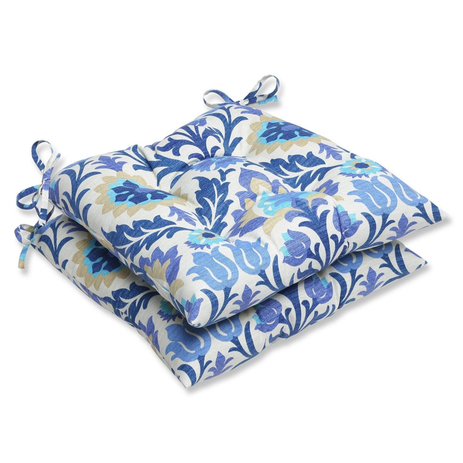 Set of 2 Dream Garden Blue, Light Taupe and Ivory Damask Patio Wrought Iron Chair Cushions 19""