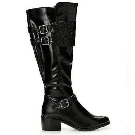 Corkys Womens WYATT Leather Riding Boots with Crocodile Print (Black, US