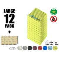 "Arrowzoom New Black 9.8"" x 9.8"" x 1.1"" Convoluted Egg Crate Tile Acoustic Studio Sound Absorption Foam, 4-pcs"