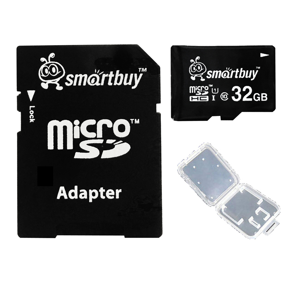 Smartbuy 32GB Micro SDHC Class 10 TF Flash Memory Card SD HC C10 Ultra U1 UHS-I HD Fast Speed for Camera Mobile Phone Tab GPS MP3 TV + Adapter + Mini Case