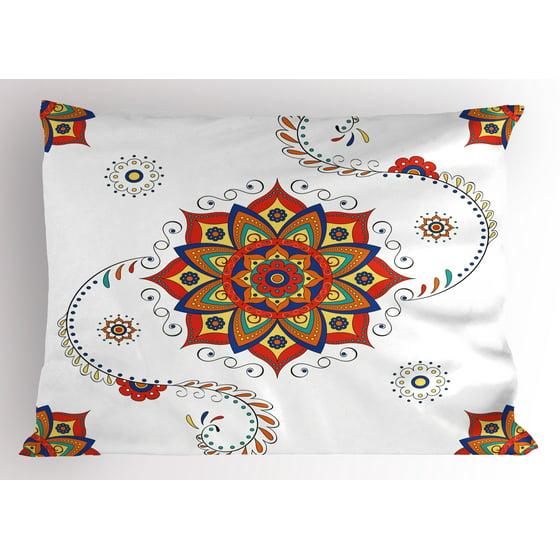 Modern Lotus Pillow : Lotus Pillow Sham Lotus Flower with Abstract Modern Style Mandala Influences Symmetric Folk ...