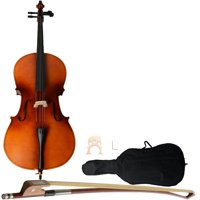 4/4 Cello, Solid Wood Cello Musical Instrument, Cello with Soft Case, Bow, Rosin, Soft Case with Accessories Pockets and Adjustable Backpack Straps, Great Present for Music Enthusiasts, S10554