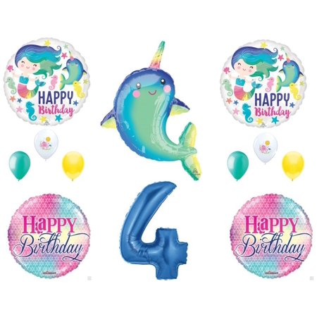 Narwhal and Mermaid 4th Birthday Party Balloons Decoration Supplies Ocean Luau - Latex Mermaid