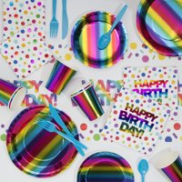 Rainbow Foil Birthday Party Supplies Kit for 8 Guests