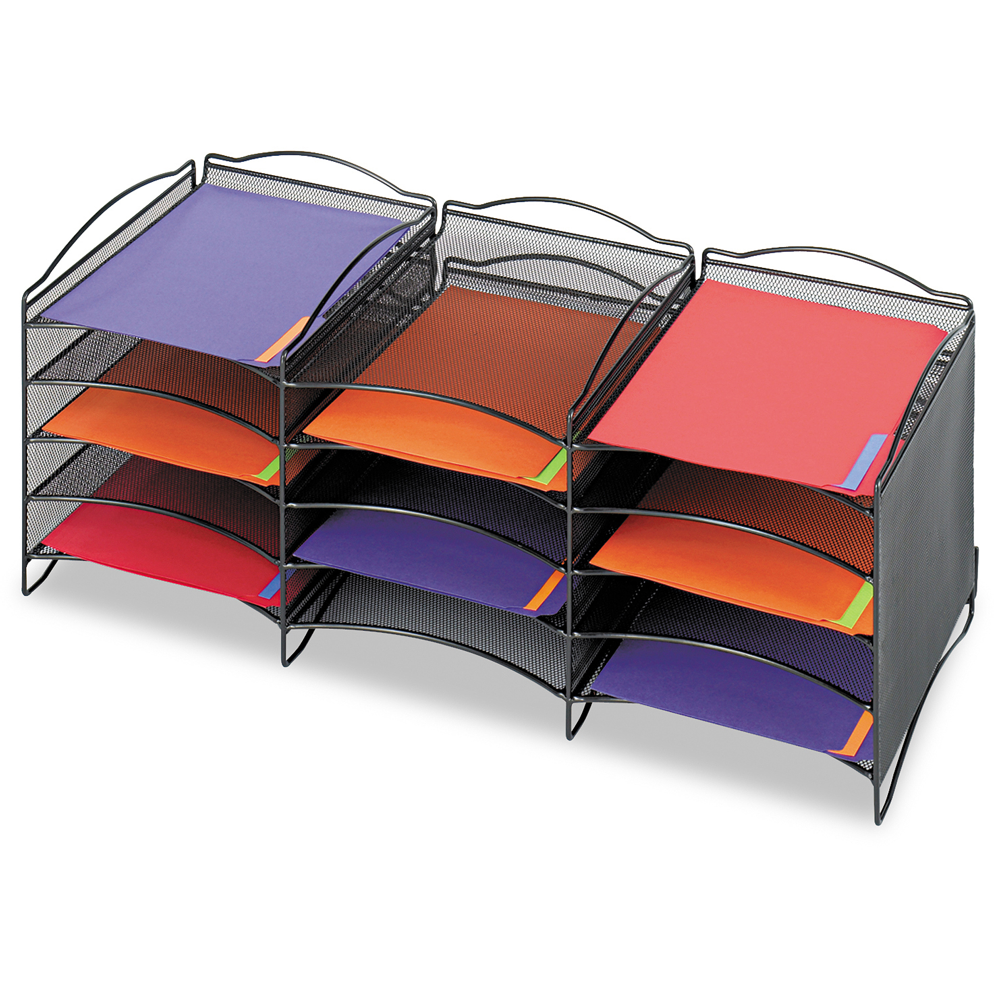 Safco Onyx Steel Mesh Lliterature Sorter, 12 Compartments, Black