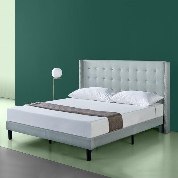 """ZINUS Kendra 51"""" Upholstered Wingback Platform Bed, Sage Grey, King"""